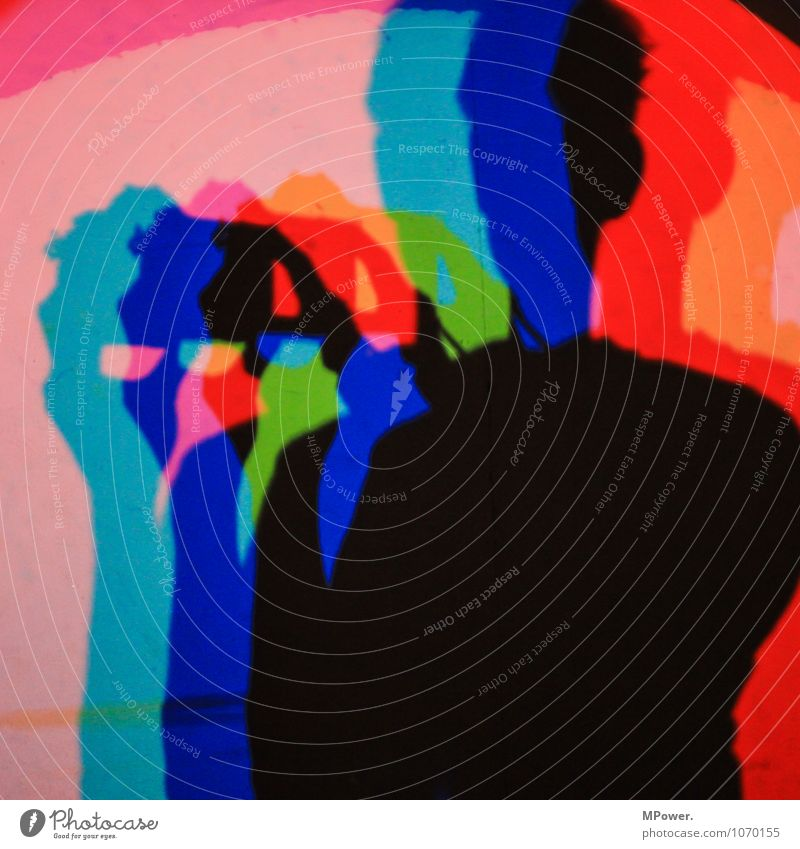 RGB Art Cool (slang) Multicoloured Peace Complementary colour Shadow Self portrait Experimental Lighting Green Red Upper body Head Fingers Colour photo
