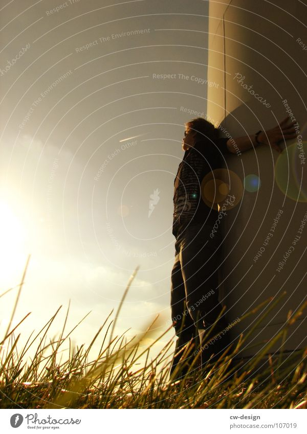 the proximity Human being Sun Sunlight Back-light Lens flare Lean Exterior shot Twilight Copy Space left