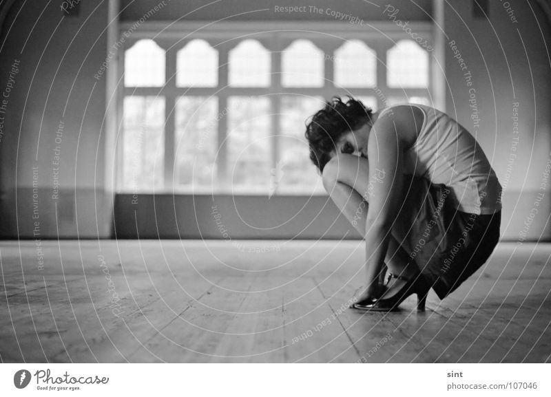 HIDING Monochrome Analog Dance floor Woman Hall Window Crouching Black & white photo Youth (Young adults) female Film industry Single alone lonely windows