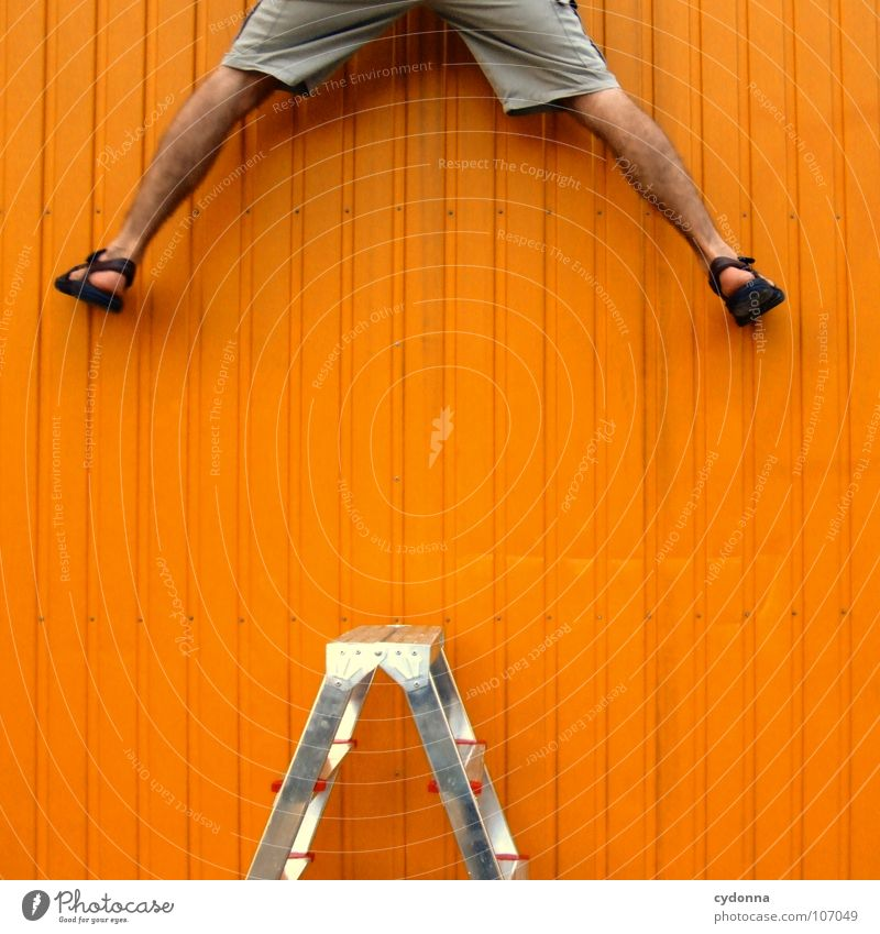 Human being Man Loneliness Wall (building) Above Lanes & trails Legs Orange Work and employment Power Exceptional Success New Planning Desire Target