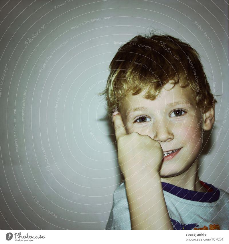 With index finger raised Child Toddler Playing Children's room White Joie de vivre (Vitality) Joy Brash Boy (child) Schoolchild Face Looking admonish
