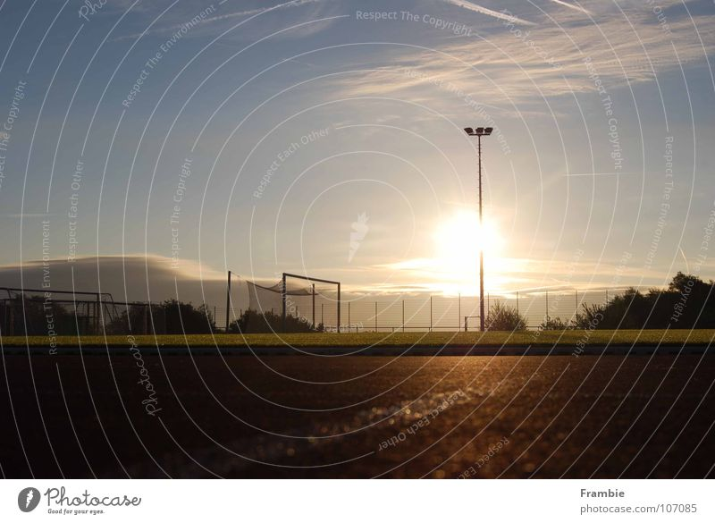 Lonely sports field in the morning light Sunrise Loneliness Calm Sporting grounds Sports Playing Summer Leisure and hobbies Freedom Morning Sky tartan track