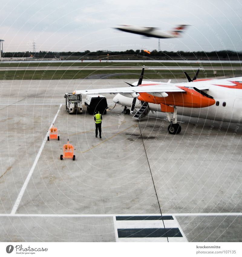 Vacation & Travel Line Flying Signs and labeling Beginning Stairs Aviation Logistics Asphalt Airplane takeoff Airport Departure Airplane Runway Propeller Runway