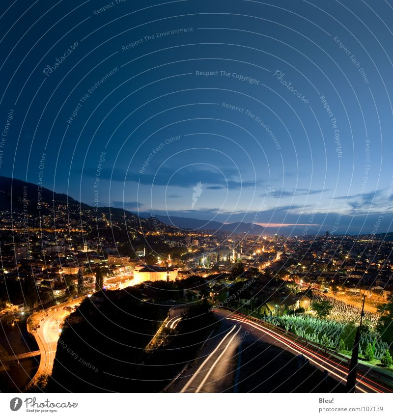 Sarajevo Yellow Long exposure Europe roads night Skyline blue lights cars streets mosque minaret eternal mountains birds eye