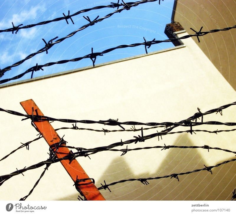 barbed wire Barbed wire Fence Barrier Bans Exclude Captured Longing Compulsion Wall (building) Wall (barrier) Iron Car dealer Detail Grief Distress Obscure