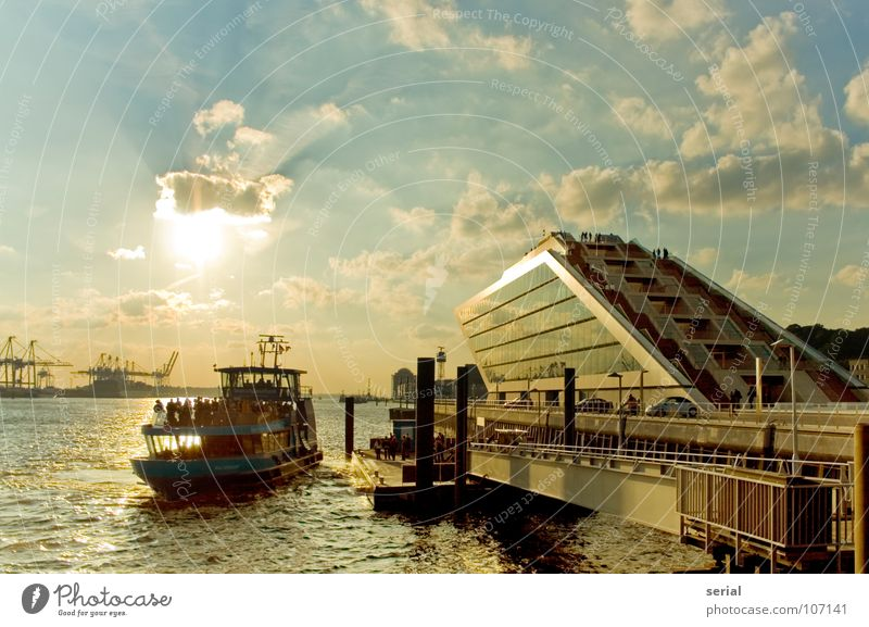 Human being Water Sky Sun Blue Summer House (Residential Structure) Clouds Warmth Watercraft Bright Orange Hamburg Physics Harbour