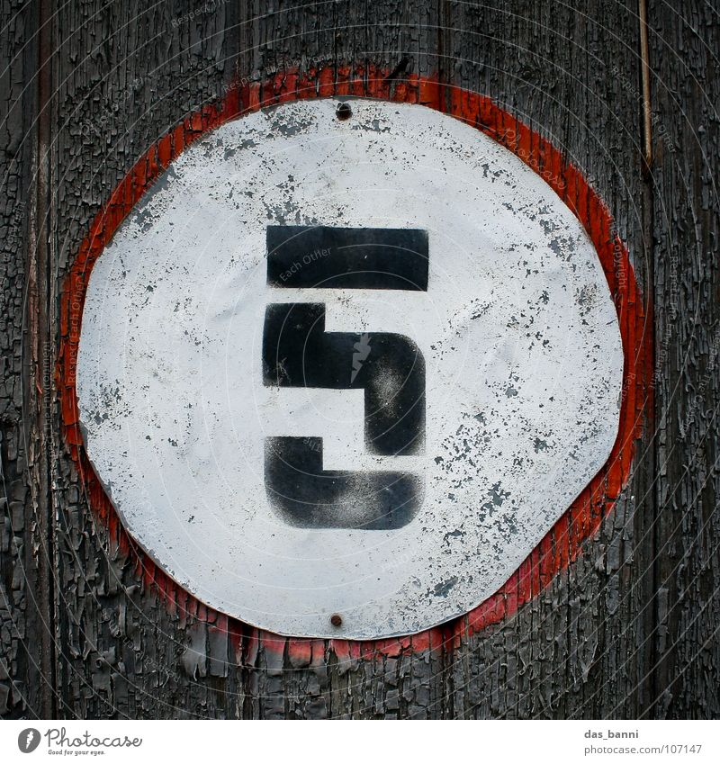 NUMB3R 5 Digits and numbers Classification Second-hand Old Derelict Typography White Wood Black Red Gray Spray Middle Design Splinter Nail Fastening Frontal