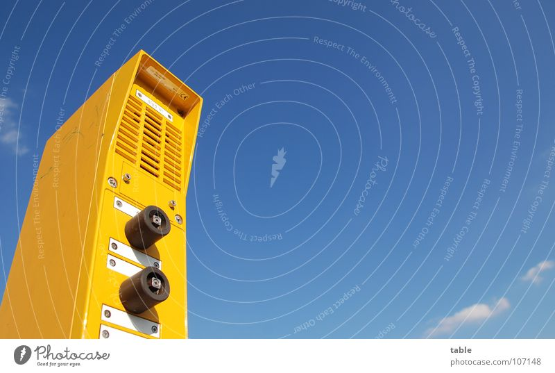 Sky Blue Summer Vacation & Travel Yellow Above Railroad Safety Technology Communicate Under Station Services Train station Microphone Buttons