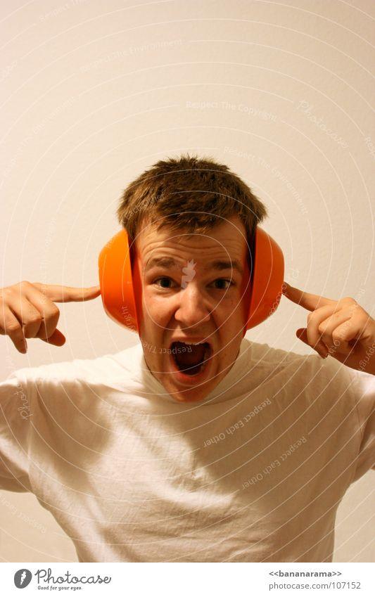 Man White Head Orange Fingers Dangerous Construction site T-shirt Ear Level Scream Pain Loud Damage Crash Sense of hearing