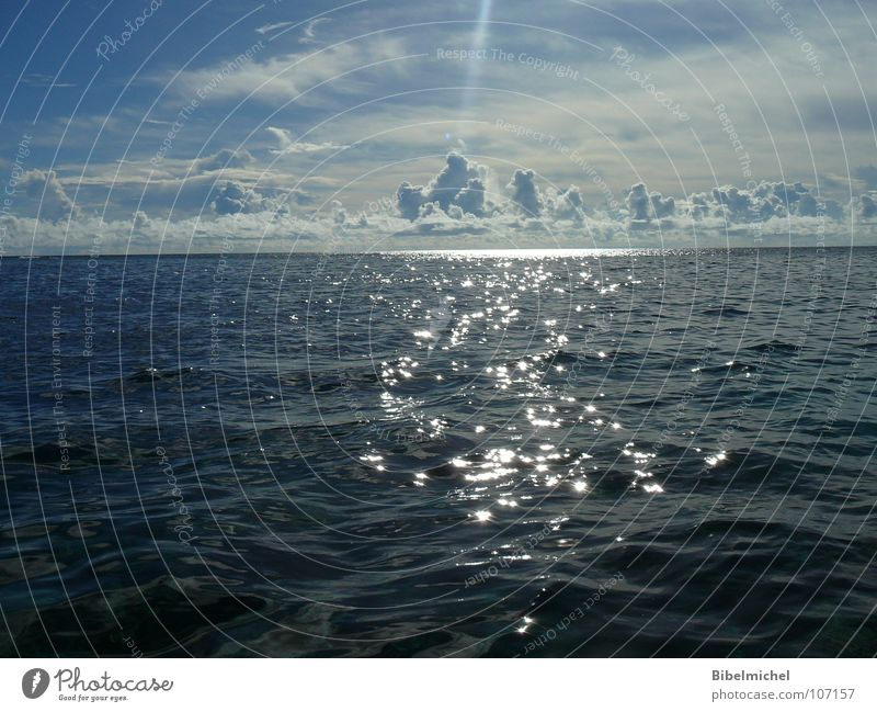 Nature Water Sky Sun Ocean Blue Summer Calm Clouds Far-off places Life Waves Glittering Horizon Island Dive