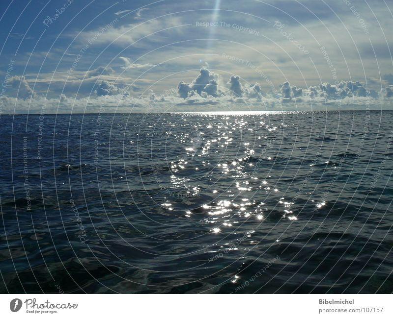 When the sun touched the sea Ocean Clouds Glittering Sun Comforting Caribbean Sea Maldives Ibiza Majorca Gran Canaria Hawaii Dive Waves Horizon Infinity Summer