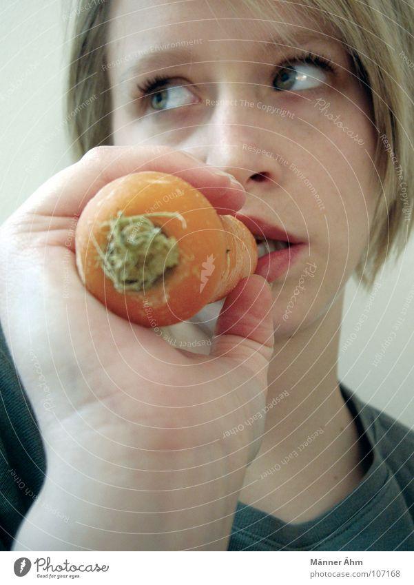Woman Plant Nutrition Orange Healthy Eating Food Vegetable Carrot Vegetarian diet Raw vegetables Greens