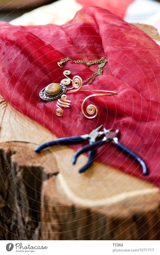 Arts and Crafts III Artist Environment Fashion Accessory Jewellery Ring Necklace Bangle Beautiful Uniqueness Wood Tree trunk Colour photo Interior shot Close-up