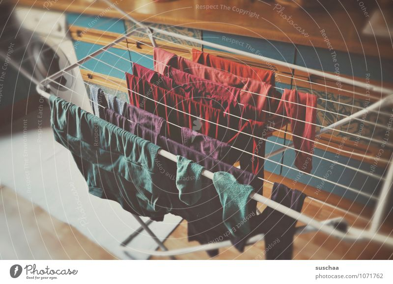 washing day Living or residing Flat (apartment) Kitchen Multicoloured Laundry Washer Clothesline Clothing Colour photo Interior shot Deserted Day Blur