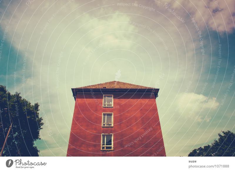 The red house Living or residing House (Residential Structure) Environment Sky Clouds Tree Outskirts Building Architecture Facade Window Concrete Old Authentic