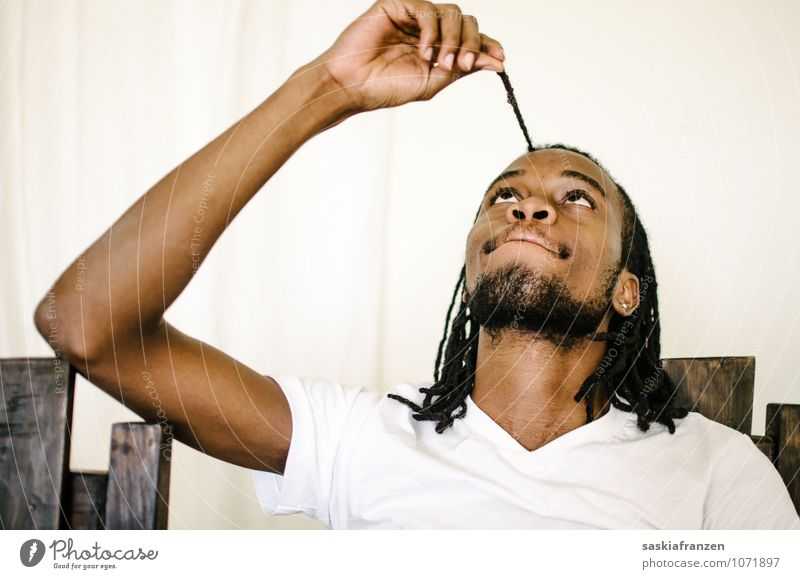 Human being Youth (Young adults) Man Relaxation Young man 18 - 30 years Adults Playing Hair and hairstyles Head Masculine Body Arm Touch To hold on Facial hair