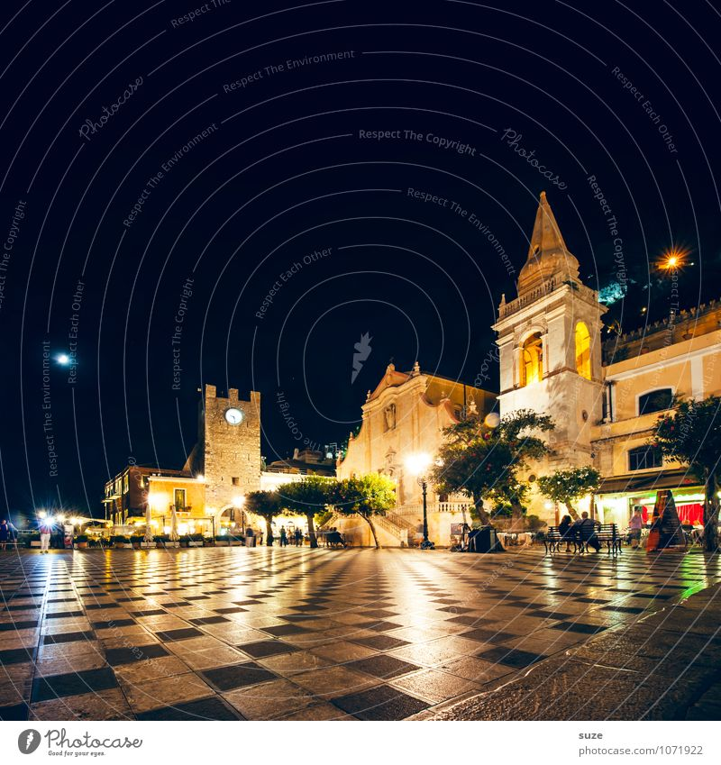 Taormina's Piazza IX Aprile Style Vacation & Travel Tourism Sightseeing City trip Culture Town Old town Church Dome Places Marketplace Tower Manmade structures