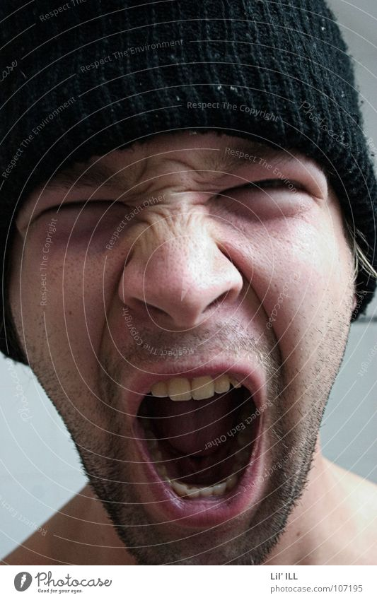 Ahhhhhh! Scream Loud Cap Unshaven Facial hair Man Portrait photograph Anger Aggravation Face Mouth