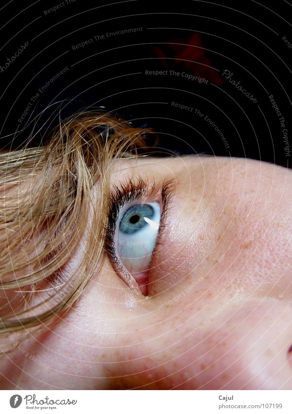 The look into nothingness? Eye colour Freckles Pupil Eyelash Nostril Strand of hair Dark Blonde Woman Room House (Residential Structure) Senses Listening Lips