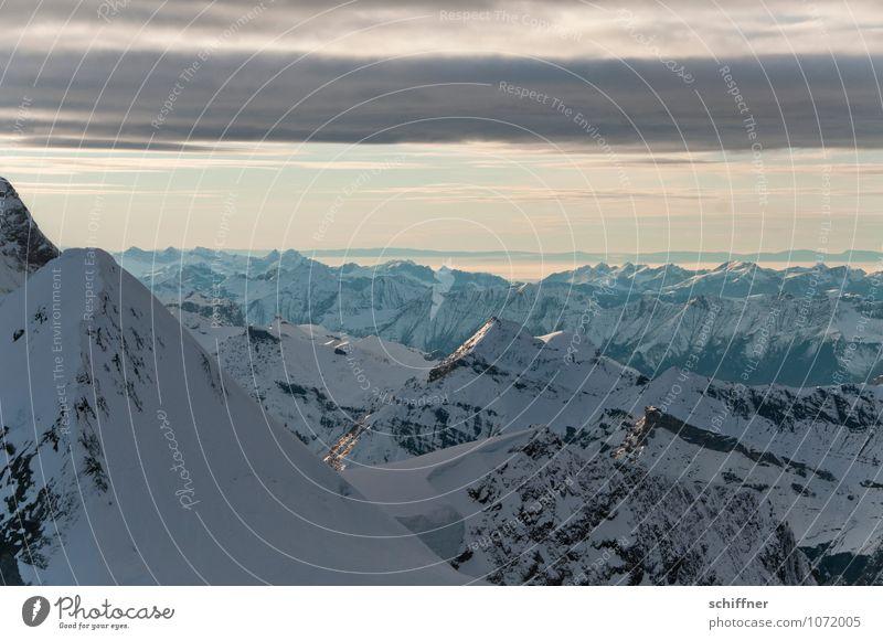 Nature Landscape Far-off places Cold Environment Mountain Rock Peak Alps Snowcapped peak Glacier Jungfrau Bernese Oberland