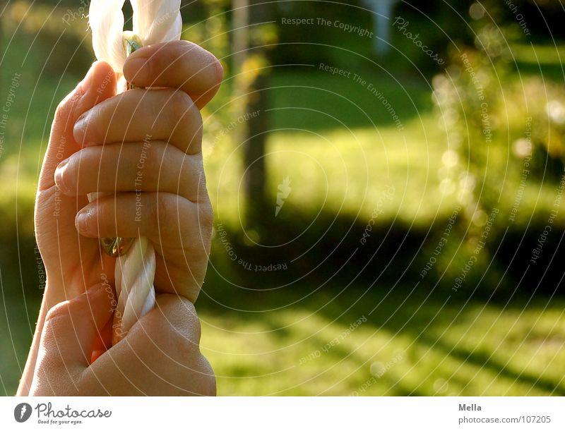 Child Hand White Green Autumn Garden Rope Trust Catch To hold on Swing Hold Children`s hand Retentive