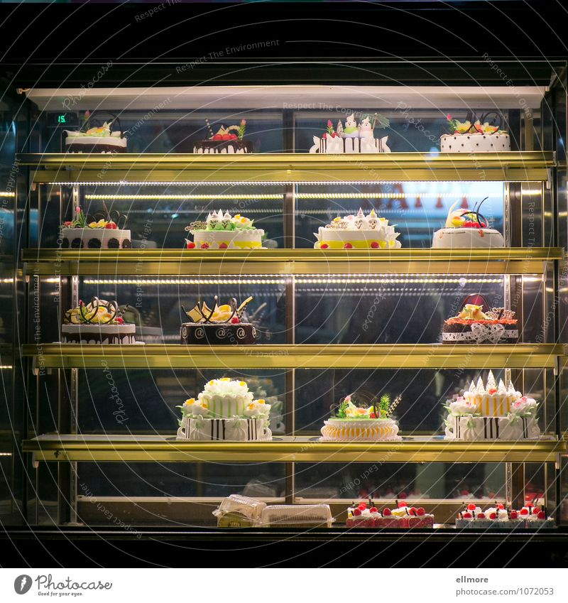 hip gold Food Dough Baked goods Cake Candy Gateau Nutrition Shop window Delicious Sweet Brown Yellow Gold Green Orange Red Black White To enjoy Rich in calories