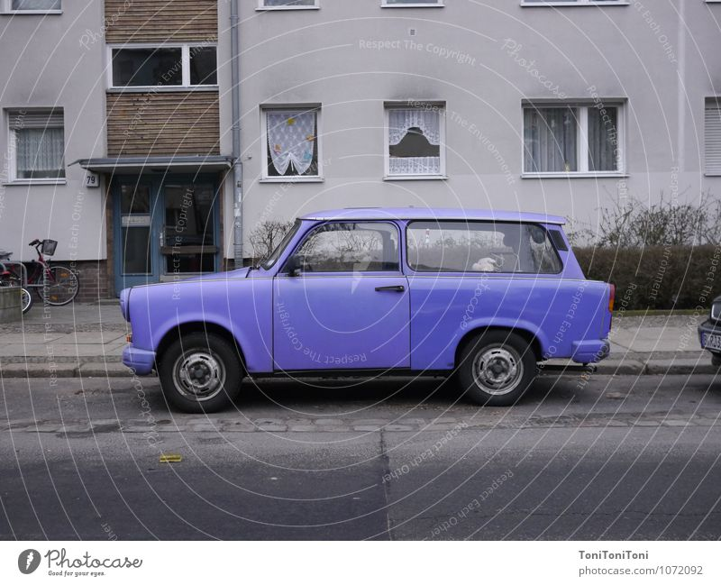 Purple Trabant Deserted House (Residential Structure) Transport Means of transport Road traffic Motoring Street Car Historic Retro Violet Freedom Trabbi trobant