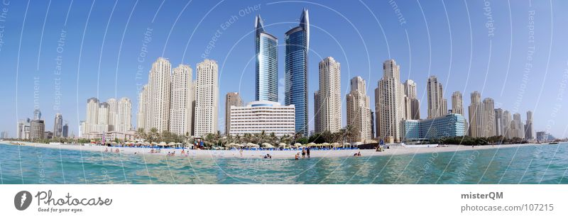 Do you have a dirham? I Dubai United Arab Emirates Vacation & Travel Relaxation To enjoy Ocean Waves Green Panorama (View) Large Clouds High-rise Multiple Sky