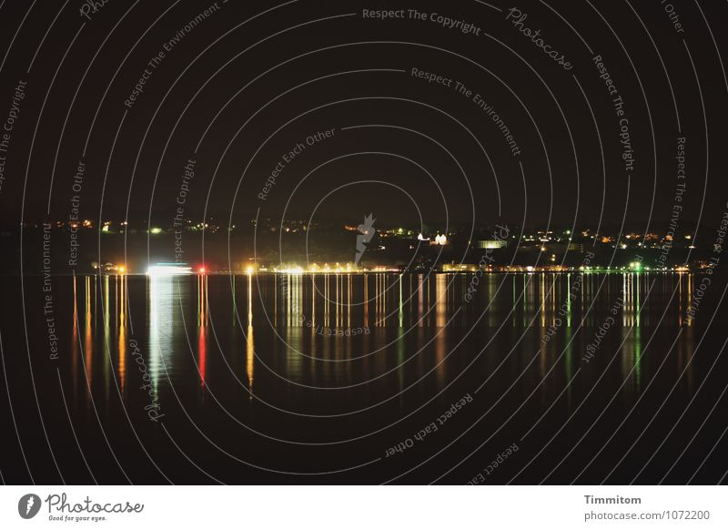 Midnight - we were lying down there cheerfully. Environment Elements Water Lakeside Lake Constance Esthetic Dark Gold Red Black Emotions Calm