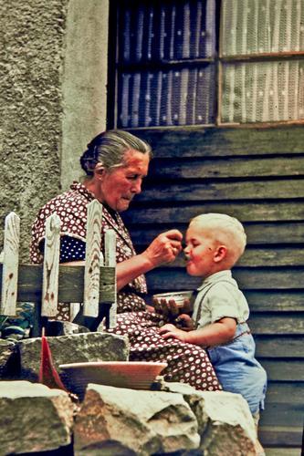 Human being Child Blue Green Love Senior citizen Boy (child) Gray Eating Stone Door Blonde Infancy Delicious Village Shirt