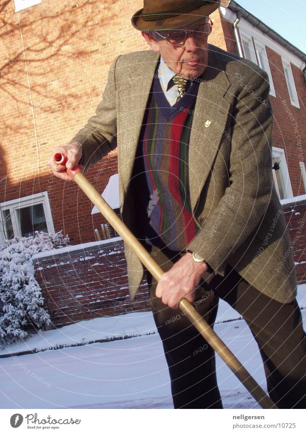 arrayed Man Grandfather Suit Chic Tie Snow snow shovel