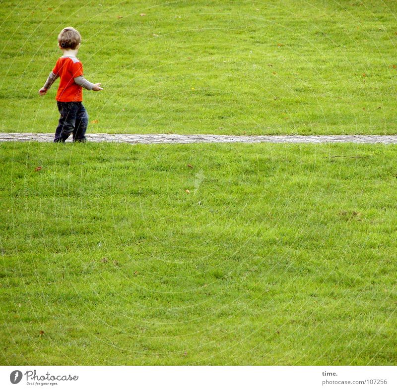 Child Green Beautiful Red Summer Loneliness Meadow Boy (child) Lanes & trails Happy Blonde Arm Action To go for a walk T-shirt Pants