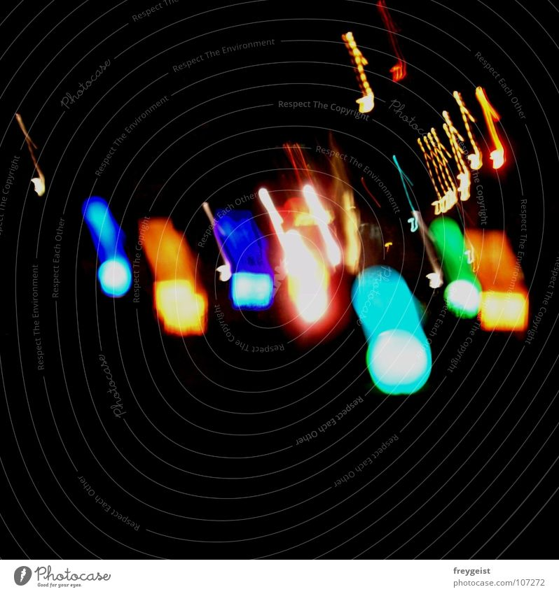 Feel the Sound... Music Night Multicoloured Black Dark Red Yellow Green Night life Traffic infrastructure Musical notes Light Lamp shine colourful Blue