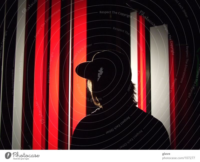 Man with cap Back-light Red White Cap Stripe Art Sweater Night Dark Culture Lamp Baseball cap Beautiful Youth (Young adults) Cool (slang) Statue Modern