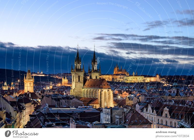 Golden City Vacation & Travel Tourism Trip Sightseeing City trip Architecture Sky Clouds Prague Town Old town Skyline Church Castle Tower Manmade structures
