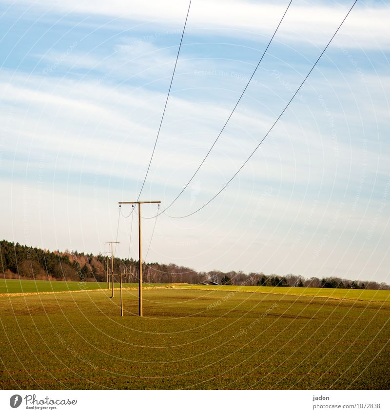 Landscape Environment Style Energy industry Field Elegant Technology Electricity Telecommunications Planning Cable Hill Thin Luxury Electricity pylon High voltage power line