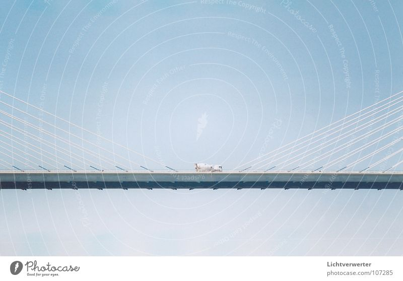 views // insights Horizontal Rope Truck Hover Suspended Bridge Blue Sky Middle Wire cable