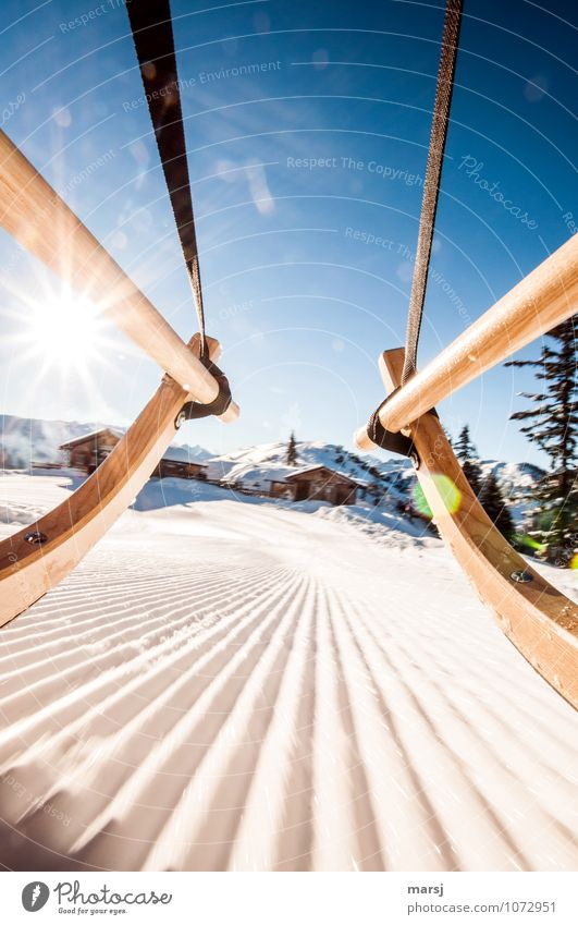 Go geht´s to the hut fun! Vacation & Travel Tourism Trip Adventure Freedom Winter Snow Winter vacation Sunlight Beautiful weather Ice Frost Toboggan run Blue