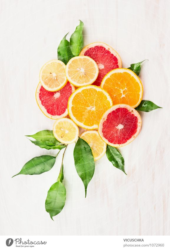 Oranges, Zintone and Grapefruit cut into slices Food Fruit Dessert Nutrition Style Design Healthy Eating Athletic Fitness Life Table Kitchen Nature Yellow