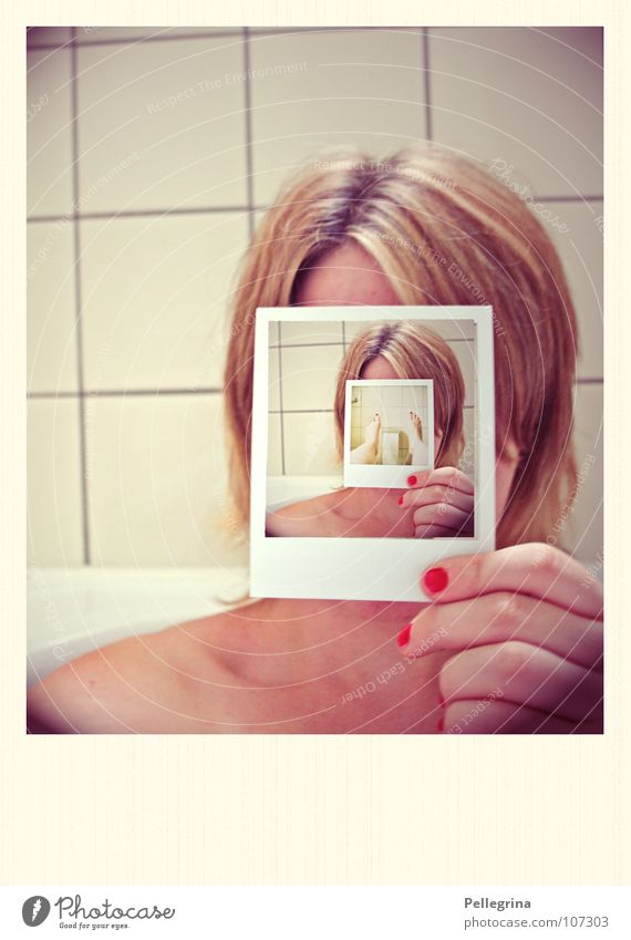 Woman Polaroid Old Hand Red Yellow Head Hair and hairstyles Legs Feet Blonde Cosmetics Fingers Retro Bathroom Film