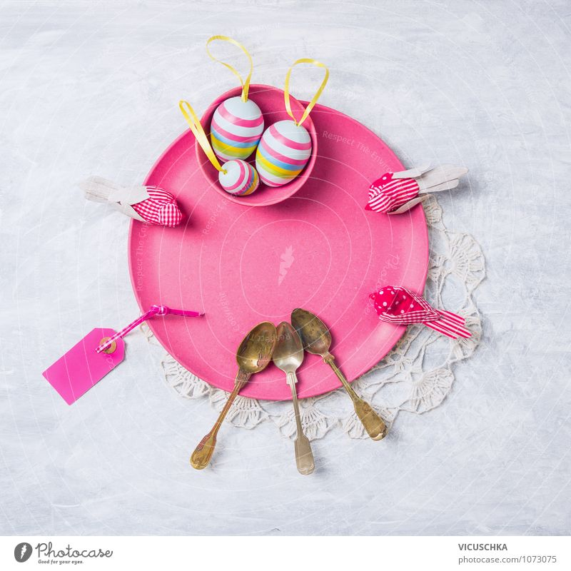 Pink Easter plate with decoration and eggs Style Design Interior design Decoration Table Feasts & Celebrations Nature Tradition Symbols and metaphors Plate