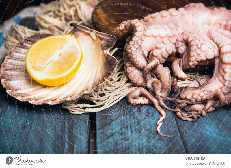 Octopus raw with lemon Food Seafood Fruit Nutrition Organic produce Diet Style Design Healthy Eating Table Background picture Protein Food photograph