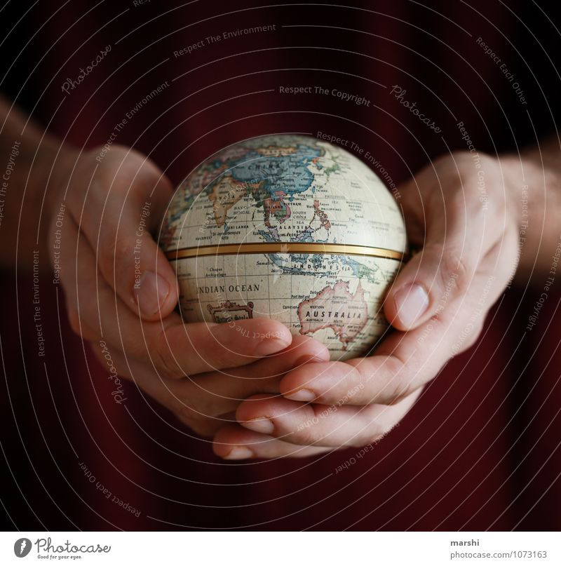 the world in my hands Leisure and hobbies Human being Environment Nature Earth Emotions Moody Peace Continents Australia China Life Hand Protection Protective