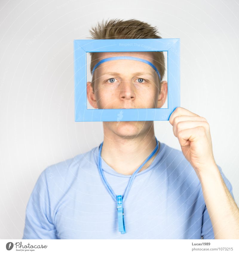 Colour study - the view through the window Picture frame Human being Masculine Young man Youth (Young adults) Man Adults Eyes 1 18 - 30 years T-shirt Accessory