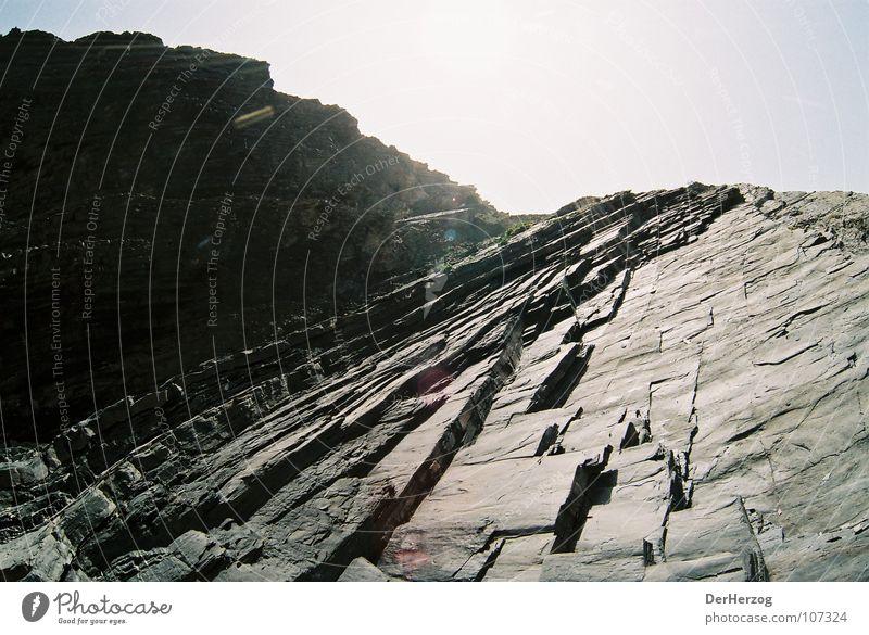 Beach Black Mountain Stone Bright Rock Portugal Steep Granite Incline Shift work