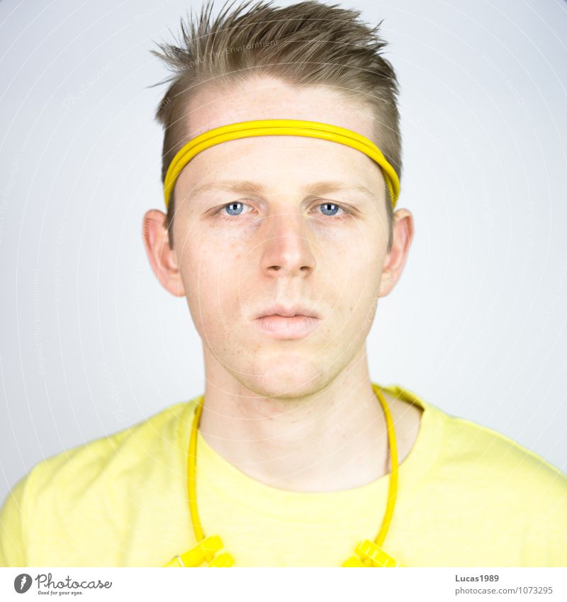 Color Study - Yellow-Man Human being Masculine Young man Youth (Young adults) Adults 1 18 - 30 years Fashion Clothing T-shirt Necklace Clothes peg Headband