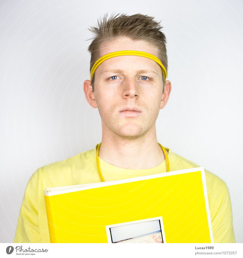 Colour study - photo album Human being Masculine Young man Youth (Young adults) Man Adults 1 18 - 30 years Art Work of art T-shirt Hairband Photography
