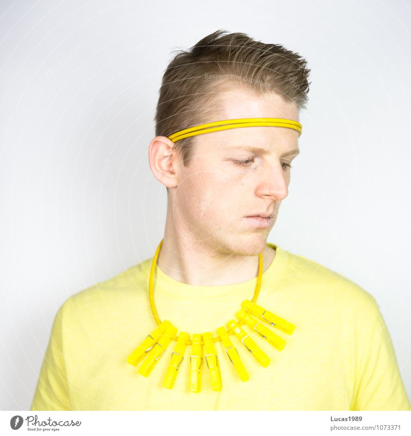 #100 Colour study - Turning away Human being Masculine Young man Youth (Young adults) Man Adults 18 - 30 years Fashion Clothing T-shirt Necklace Headband