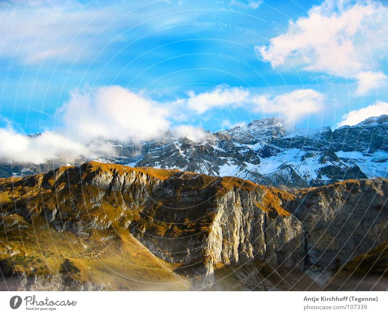 Nature Sky White Blue Calm Clouds Far-off places Cold Snow Mountain Landscape Large Tall Switzerland Infinity Alpine pasture