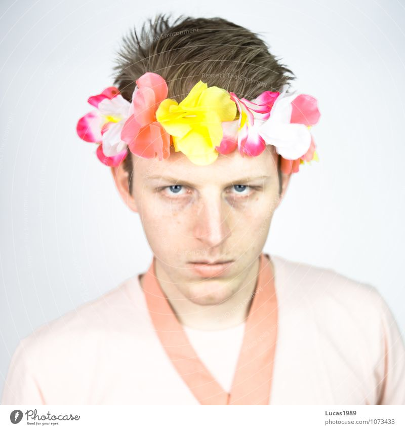 Human being Youth (Young adults) Man Red Flower Young man 18 - 30 years Adults Blossom Healthy Think Fashion Pink Masculine Fresh Crazy